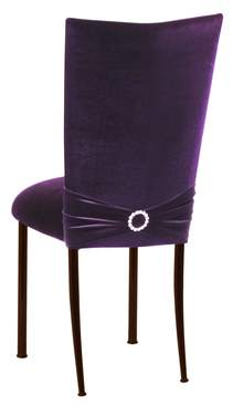 Deep Purple Velvet Chair Cover with Jewel Band on Brown Legs