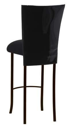Black Patent Barstool Cover with Black Velvet Cushion on Brown Legs