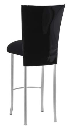 Black Patent Barstool Cover with Black Velvet Cushion on Silver Legs
