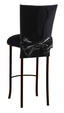 Black Patent Barstool Cover with Bow Belt and Cushion on Brown Legs