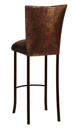 Bronze Croc Barstool with Chocolate Suede Cushion on Brown Legs