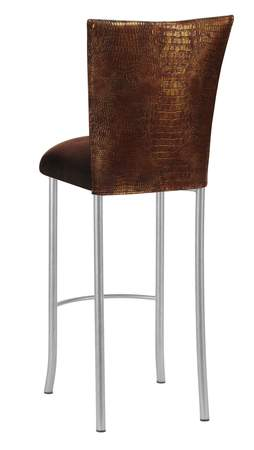 Bronze Croc Barstool with Chocolate Suede Cushion on Silver Legs