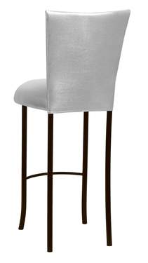 Metallic Silver Knit Barstool Cover and Cushion on Brown Legs