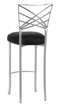 Silver Fanfare Barstool with Black Leatherette Boxed Cushion