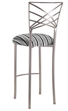 Silver Fanfare Barstool with Charcoal Stripe Cushion