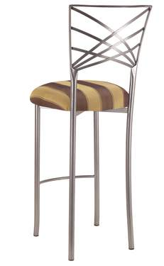 Silver Fanfare Barstool with Gold and Brown Stripe Cushion