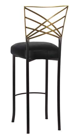Two Tone Gold Fanfare Barstool with Black Leatherette Cushion