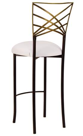 Two Tone Gold Fanfare Barstool with White Leatherette Cushion