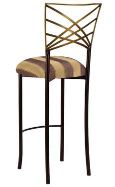 Two Tone Gold Fanfare Barstool with Gold and Brown Stripe Cushion