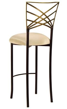 Two Tone Gold Fanfare Barstool with Champagne Bengaline Cushion