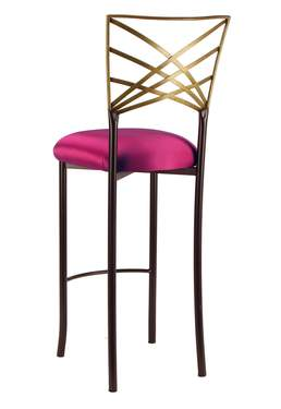 Two Tone Gold Fanfare Barstool with Fuchsia Satin Cushion