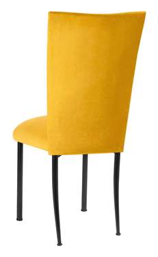 Canary Suede Chair Cover and Cushion on Black Legs