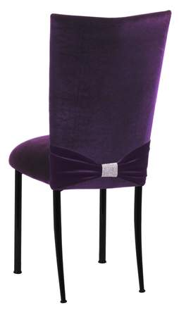 Deep Purple Velvet Chair Cover With Rhinestone Accent On Black Legs