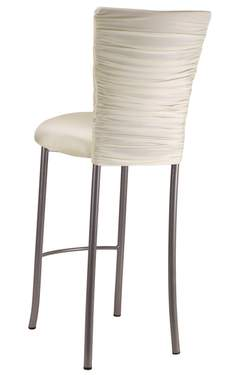 Chloe Ivory Stretch Knit Barstool Cover on Silver Legs