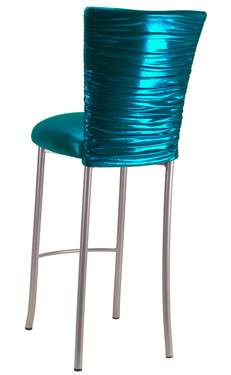 Chloe Metallic Teal Stretch Knit Barstool Cover on Silver Legs