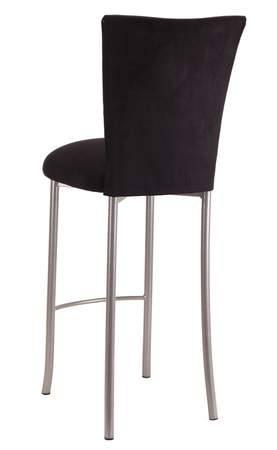 Black Suede Barstool Cover and Cushion on Silver Legs