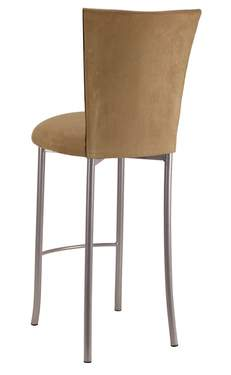 Camel Suede Barstool Cover and Cushion on Silver Legs