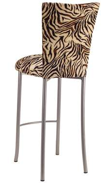 Zebra Stretch Knit Barstool Cover on Silver Legs