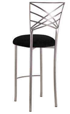 Silver Fanfare Barstool with Black Suede Cushion