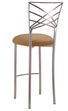Silver Fanfare Barstool with Camel Suede Cushion