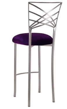 Silver Fanfare Barstool with Deep Purple Velvet Cushion
