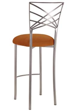 Silver Fanfare Barstool with Copper Suede Cushion