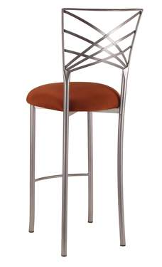 Silver Fanfare Barstool with Copper Stretch Knit Cushion