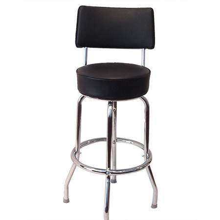Chrome Barstool w/ Black Seat & Back