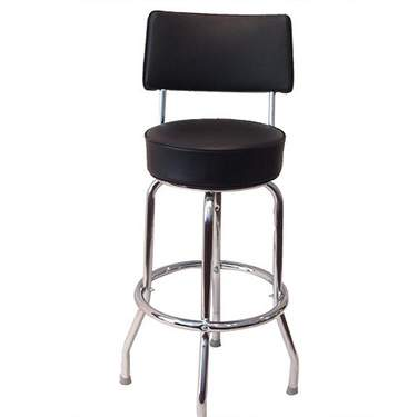 Chrome Barstool w/ Black Seat & Back