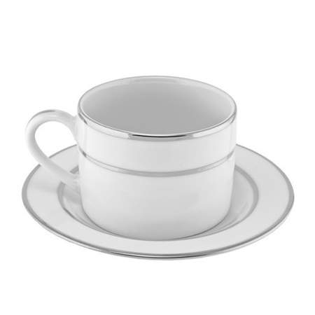 White Double Silver Banded Coffee Cup 6oz