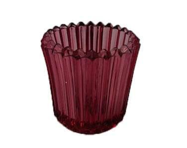 Ribbed Cranberry Votive Glass