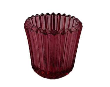Ribbed Cranberry Votive Glass