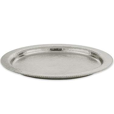 Hammered Stainless Steel Round Tray 18""