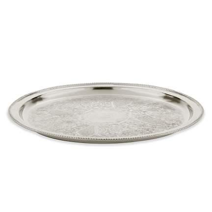 "Silver Ornate Round Tray 20"""