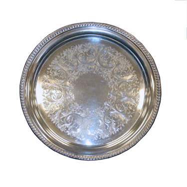 Gadroon Silver Round Tray 14""