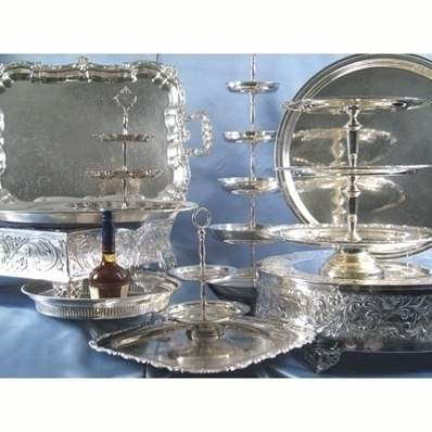 "2-Tier Silver Round Tray 12""H"