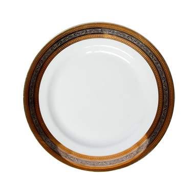 "Elegance Gold & Silver Dinner Plate 8"""