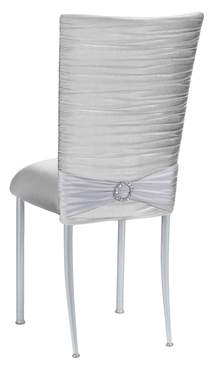 Chloe Silver Knit Chair Cover with Jewel Band on Silver Legs