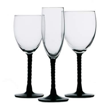 Angelique Black Glassware Pattern