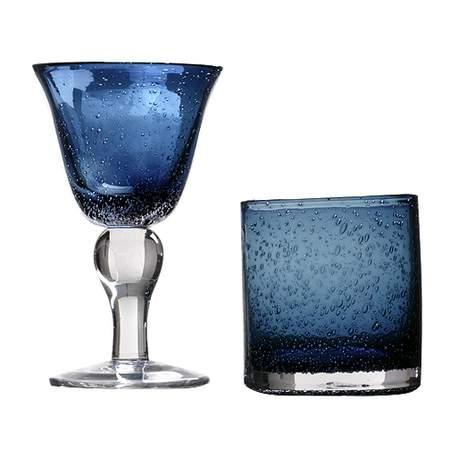 Iris Bubble Slate Blue Glassware Pattern