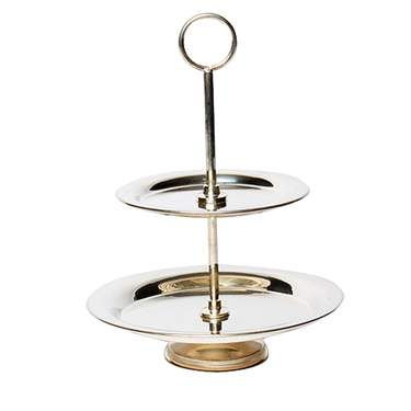"2-Tier Silver Round Tray 9""H"