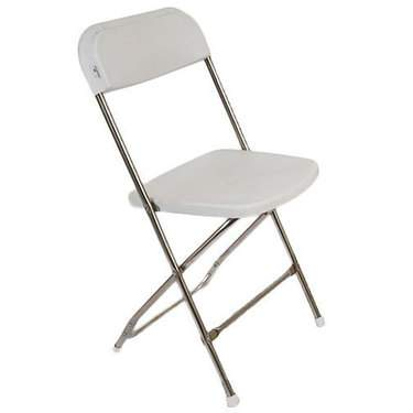 Folding Chair White w/ Chrome Frame