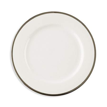 White with Single Silver Band Dinner Plate 10.75""