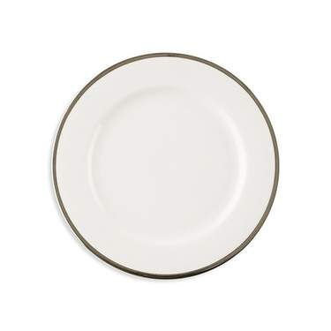 White w/ Silver Band Salad/Dessert Plate 7.75""