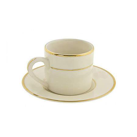 """Ivory Double Gold Banded Porcelain Demitasse Saucer 9"""""""