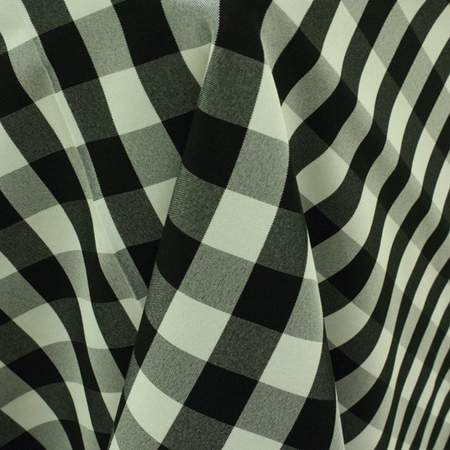 "Poly Linen Check Black & White 90"" Round"
