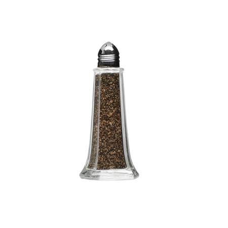 Glass Tower Pepper Shaker w/ Chrome Top