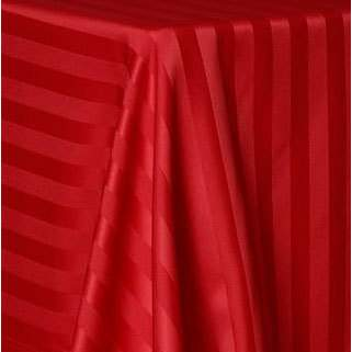 "Poly Satin Round Stripe Red 120"""
