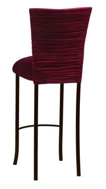 Cranberry Velvet Chloe Barstool Cover and Cushion on Brown Legs