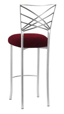 Silver Fanfare Barstool with Cranberry Velvet Cushion